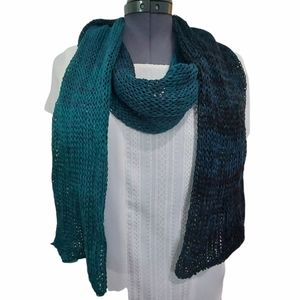 Hand Knit Deep Teal To Black Ombre Scarf